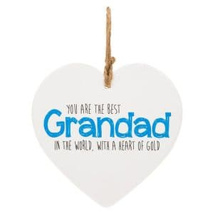 You Are The Best Grandad In The World Ceramic Heart Shaped Hanging Sign....