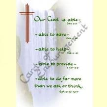 Pack of 10 Pocket Cards - Our God is able (PKTJCP25)