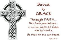 Pack of 10 Pocket Cards - Saved by grace (PKTJL39)