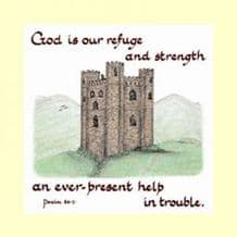 Pack of 10 Square Cards - God is our refuge and strength (ACC09)