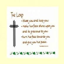 Pack of 10 Square Cards - The LORD bless you and keep you (ACC08)