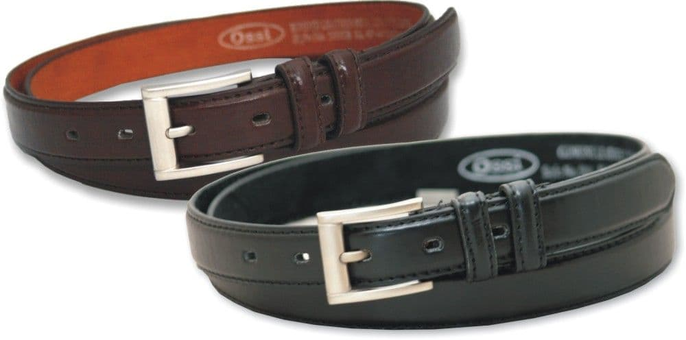 25mm Classic Stitched Leather Lined Belt (2 Pack)