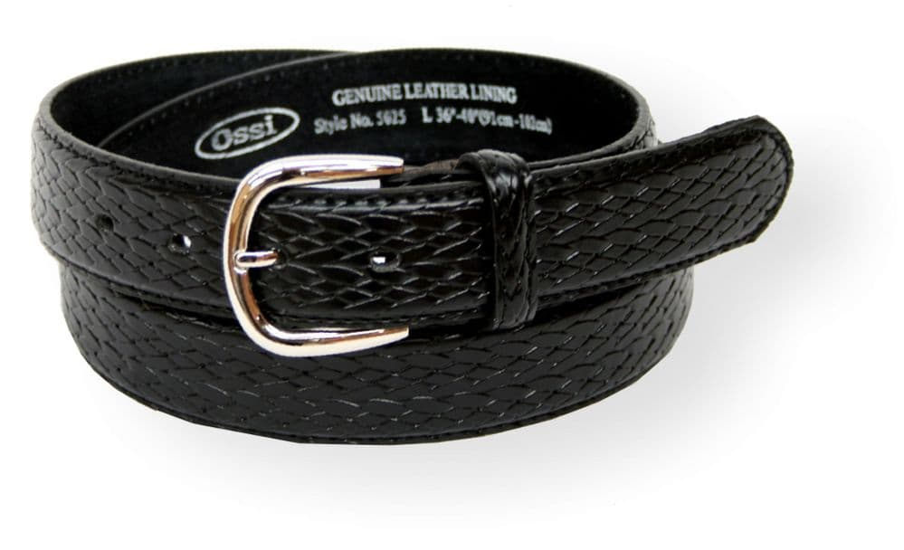 Mens 30mm Basket Weave Pattern Black Leather Lined Belt