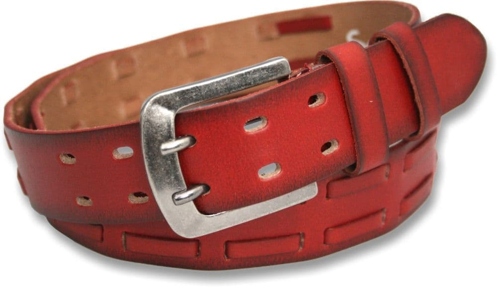 Mens 40mm Burnt Red Full Grain Leather Dual Prong Belt