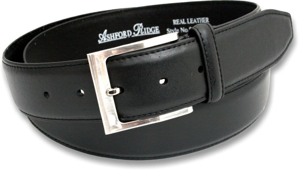 "Mens Black 1.5"" Coated Leather Feather Stitched Trouser Belt"