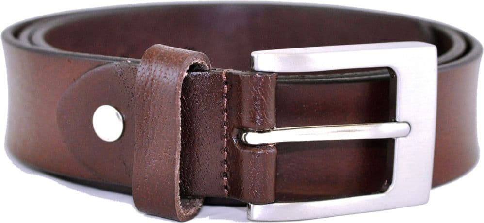 Mens Classic Full Grain Leather Belt - Made in UK - Chestnut Brown