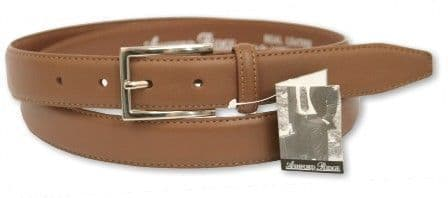 "Mens Tan 1.25"" Coated Leather Feather Stitched Belt"