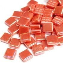 12mm Square Tiles - Coral Red Pearlised - 50g