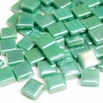 12mm Square Tiles - Emerald Green Pearlised - 500g