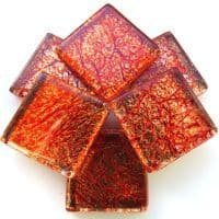 20mm Square Tile - Amber Foil - 49 Tiles