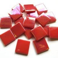 25mm Square Tile - Coral Red Pearlised - 50g