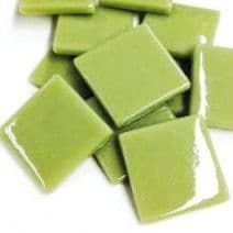 25mm Square Tile - Light Khaki Green Gloss - 50g