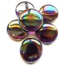 6 Extra Large Glass Pebbles - Amethyst Diamond