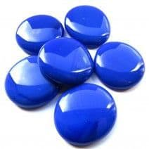 6 Extra Large Glass Pebbles - Blue Marble