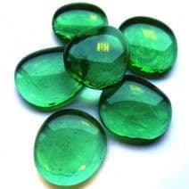 6 Extra Large Glass Pebbles - Emerald Iridised