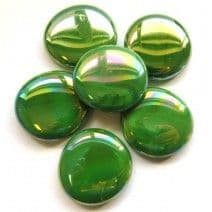 6 Extra Large Glass Pebbles - Green Opalescent