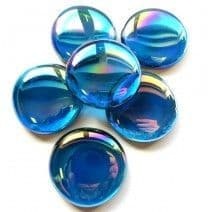 6 Extra Large Glass Pebbles - Turquoise Diamond