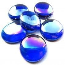 6 Large Glass Pebbles - Blue Diamond