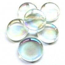 6 Large Glass Pebbles - Clear Iridised