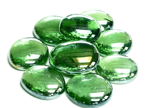 6 Large Glass Pebbles - Light Green Iridised