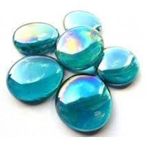 6 Large Glass Pebbles - Teal Diamond