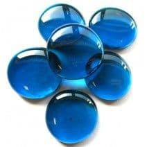 6 x Extra Large Glass Pebbles - Turquoise Crystal