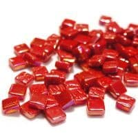 8mm Square Tiles - Chilli Red Pearlised - 50g