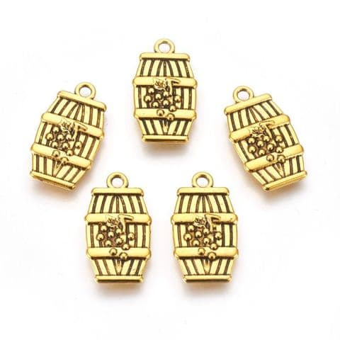 Charm - Barrel Golden - 5 pieces
