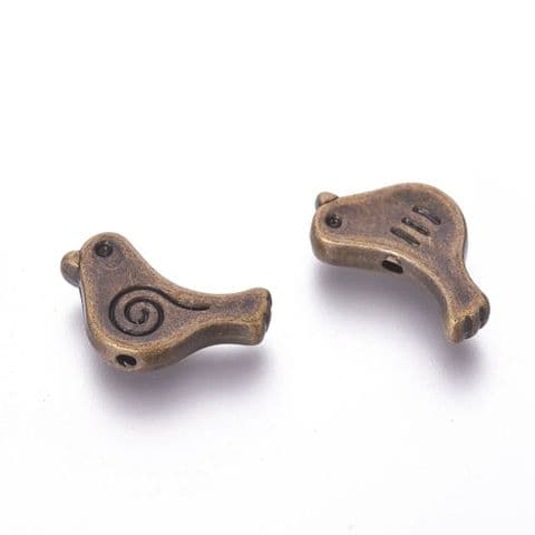 Charm - Bird Bronze - 10 pieces