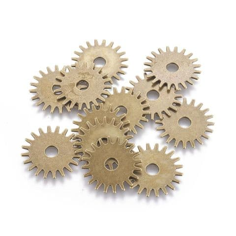 Charm - Gear 25mm Bronze - 10 pieces