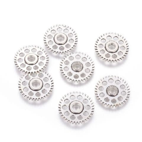 Charm - Gear 26mm Silver - 10 pieces