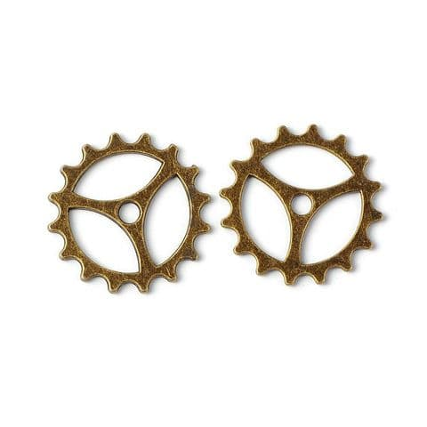 Charm - Gear Bronze 22mm - 10 pieces