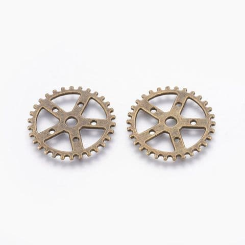 Charm - Gear Bronze 25mm - 10 pieces