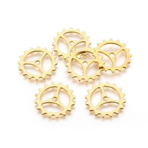 Charm - Gear Golden 22mm - 10 pieces