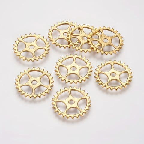 Charm - Gear Golden 25mm - 10 pieces