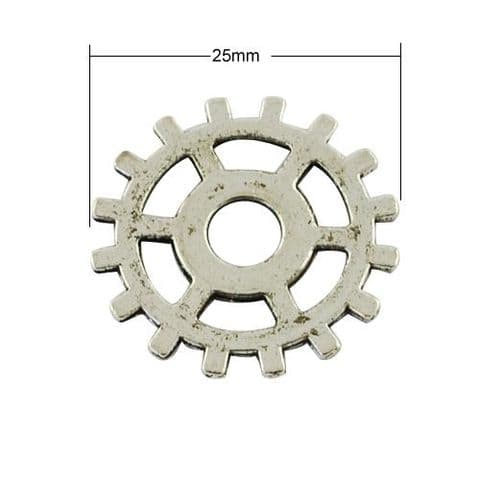 Charm - Gear Silver 25mm - 10 pieces