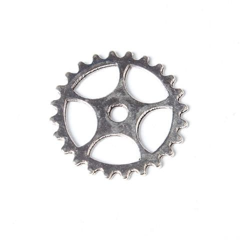 Charm - Gear Silver 25mm -10 pieces