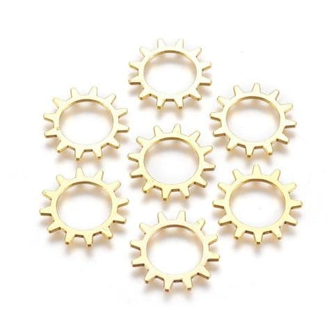Charm - Gear Wheel Golden 20mm - 10 pieces