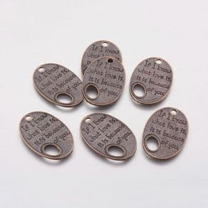 Charm - Oval Love Message - 5 pieces