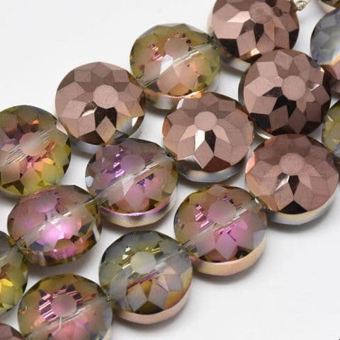 Flat Round Glass Beads - Saddle Brown 12x8mm - 10 pieces