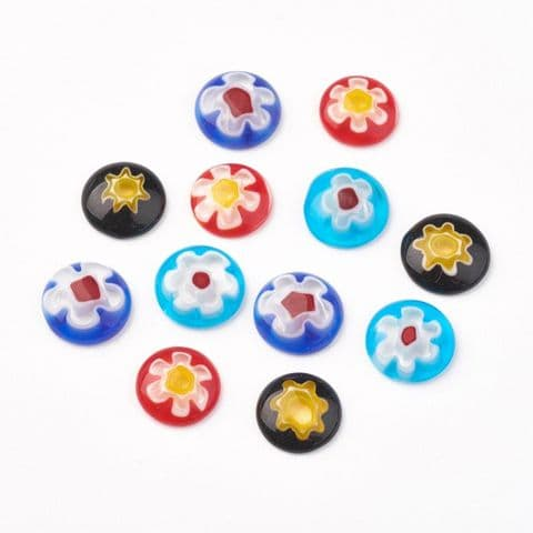 Millefiori Glass Cabochons - Half Round/Dome Mixed 10mm - 5 pieces