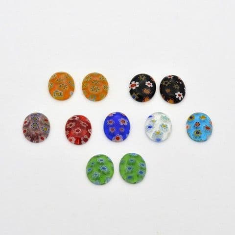 Millefiori Glass Cabochons - Oval 12mm - 10 pieces