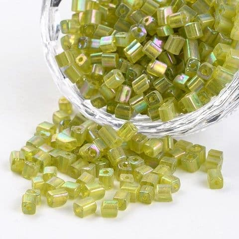Seed Beads Cube - 6/0 - Olive Rainbow - 50g