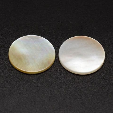 Shell Cabochons - Flat Round Pearl 17mm - 5 pieces