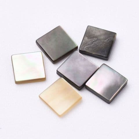 Shell Cabochons - Square 4mm Black - 10 pieces