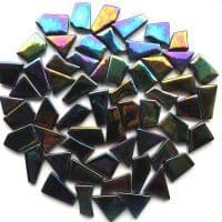 Snippets Glass Shapes - Black Iridised - 500g