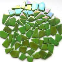 Snippets Glass Shapes - Green Grass Iridised - 500g