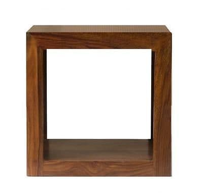 Cube Petite Chunky Modern Solid Sheesham Wood Single Cube