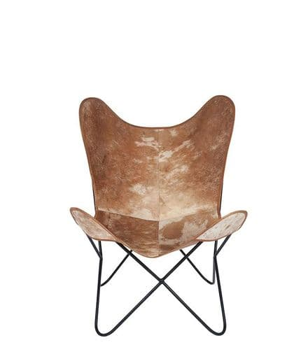 Hide leather & iron Chair
