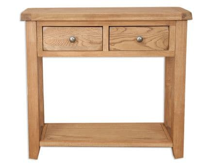 Madrid Country Solid Chunky Oak 2 Drawer Console Table